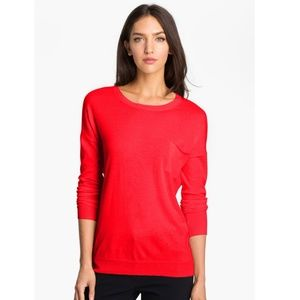 Theory | Red Tollie Wool Tee with Pocket Sweater
